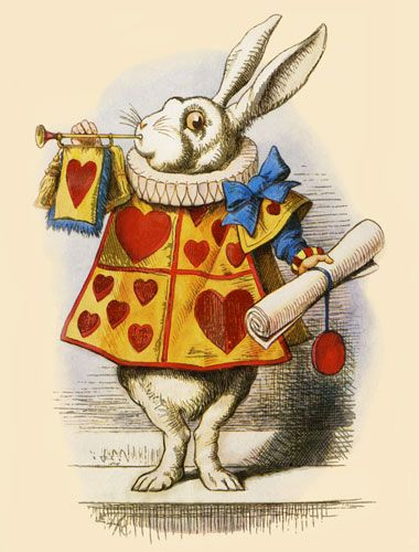 Alice In Wonderland White Rabbit Hearts Sounding Trumpet 5x7 Inch Fabric Block