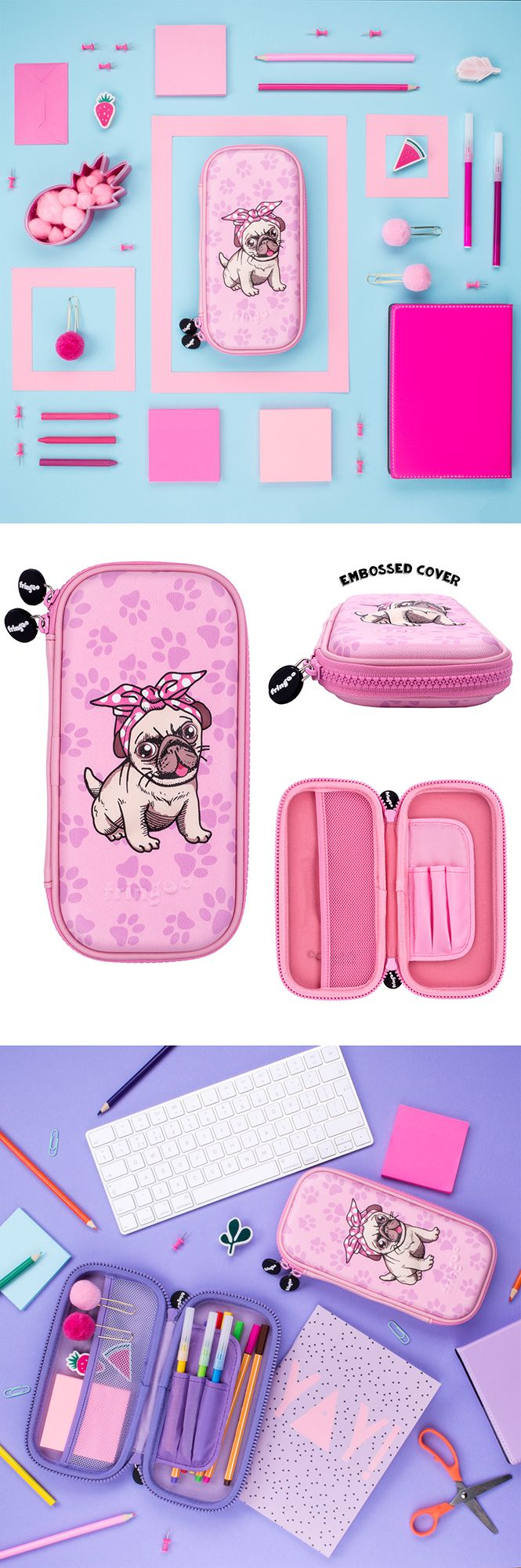 Pink pug pencil case for kids. Adorable children's stationery organiser. Unique, 3D embossed shell school accessory for girls that love pugs.