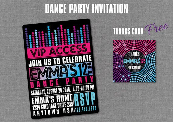 DANCE PARTY Invitation Disco Birthday Digital by BolleBluParty