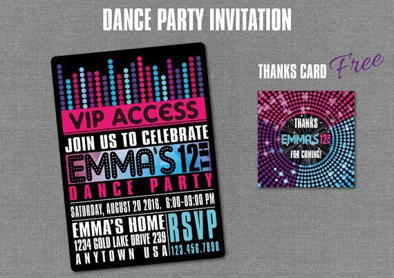 DANCE PARTY Invitation Disco Birthday Digital by BolleBluParty