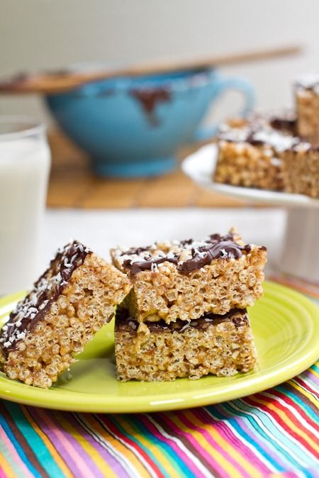 no-bake vegan almond butter rice crisp treats - instead of earth balance or other palm oil spreads, try bryanna's corn butter?