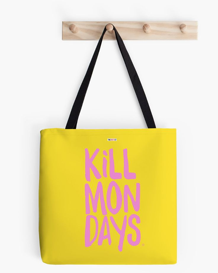 Kill Mondays Tote Bag - Yellow tote bag