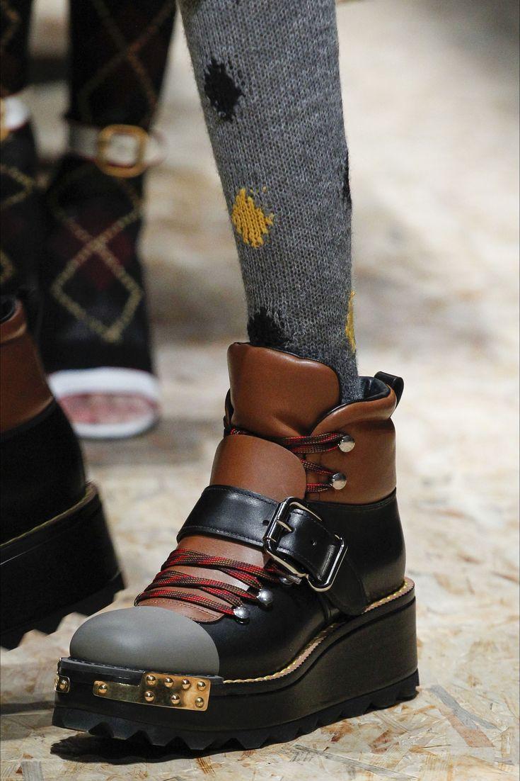 Prada Fall 2016 Ready-to-Wear Fashion Show Details - Black & caramel  platform ankle boots