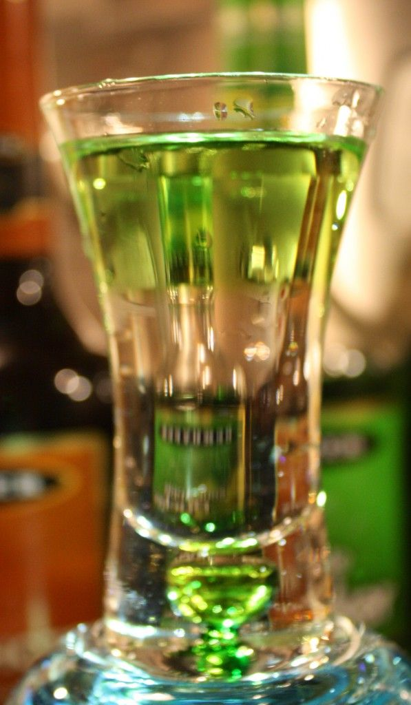 Caramel Apple Shooter    (1/2 oz butterscotch schnapps  1/2 oz sour apple pucker)