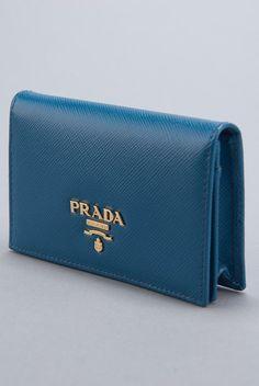 New Prada Cobalt Saffiano Card Holder Wallet