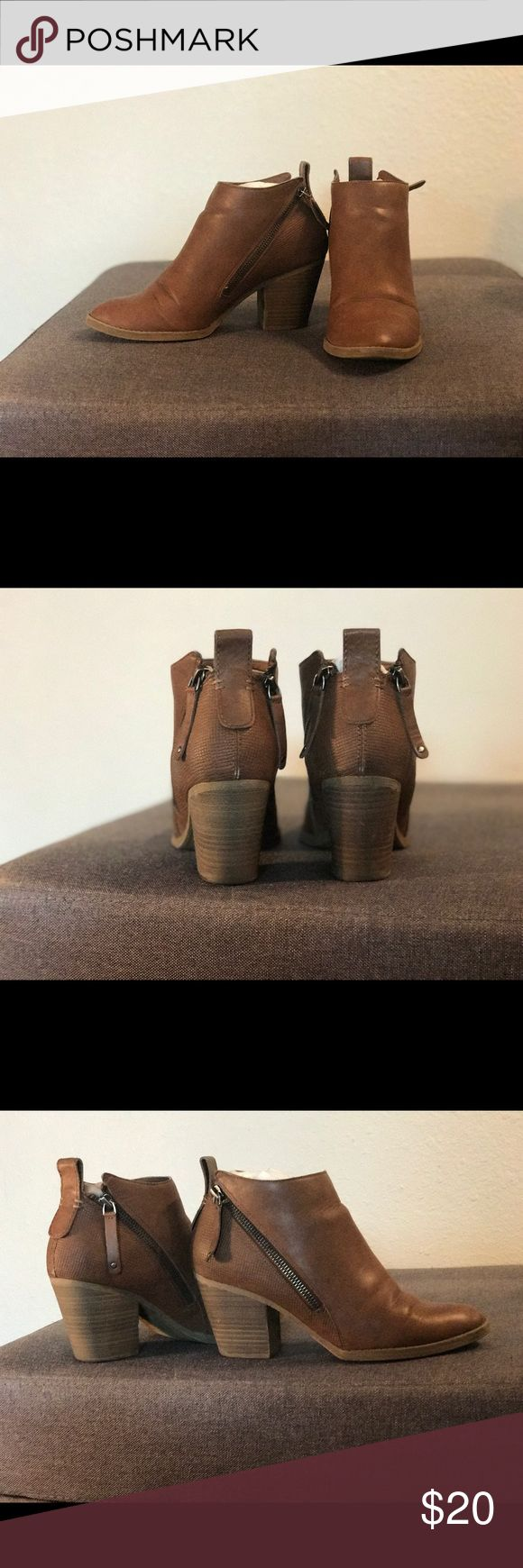 Tan Leather Ankle Booties Size 8 Shoes Ankle Boots & Booties