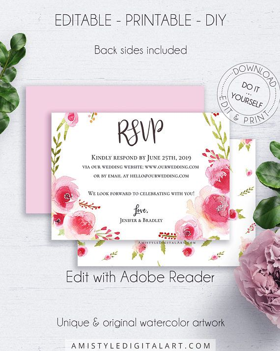 Wedding Enclosure Cards, with beautiful and charming watercolor rose wreath design in romantic and chic wedding style.This nice wedding response card template is an instant download EDITABLE PDF pack so you can download it right away, DIY edit and print it at home or at your local copy shop by Amistyle Digital Art on Etsy
