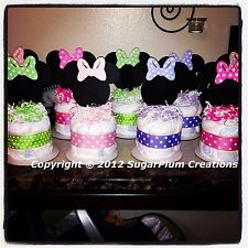 minnie mouse diaper cake | Minnie Mouse Diaper Cake Minis - Baby Shower Birthday Centerpieces ...