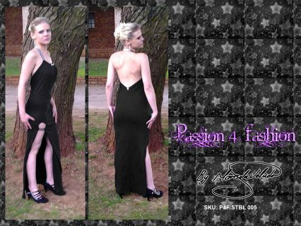 Tube dress with V open back, silver elasticated halter neck and slit with a silver elasticated detail.