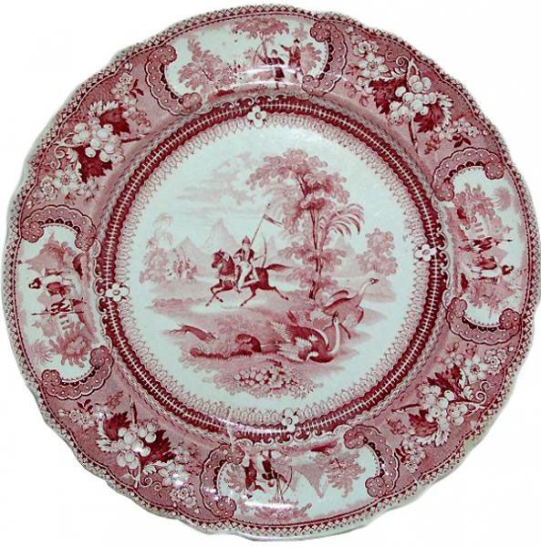 "10 inch plate from the ""Belzoni"" series made by Enoch Wood & Sons (1818-1846). It is part of a series that shows a different scene on almost every size and shape. The pattern owes its name to Giovanni Battista Belzoni (1778-1823), an Italian adventurer and entertainer who settled in England."