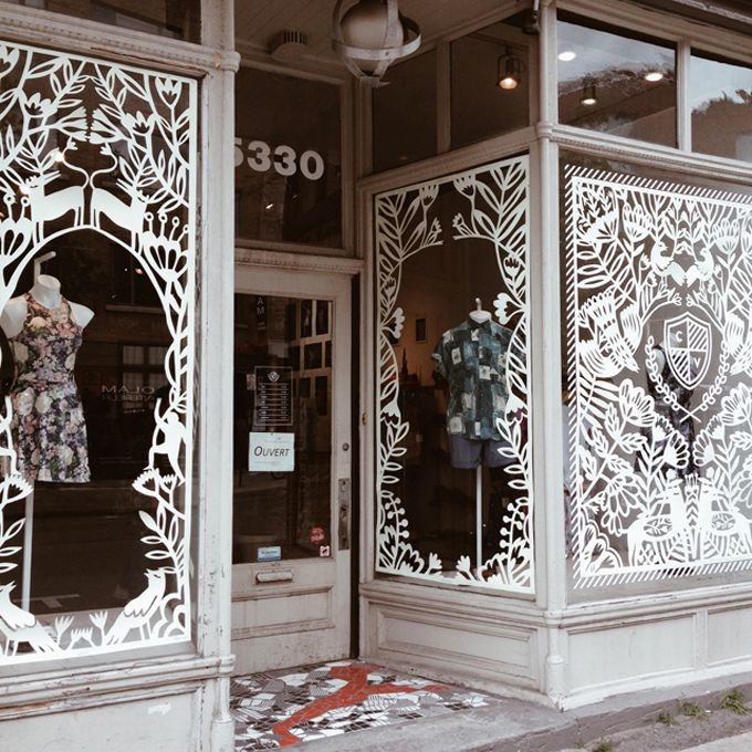 Stunning Handcut Paper Design Store Front Shop Window Display by Yelena Bryksenkova's in Montreal
