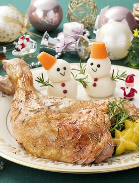 roasted chicken with snow man mash potatoes