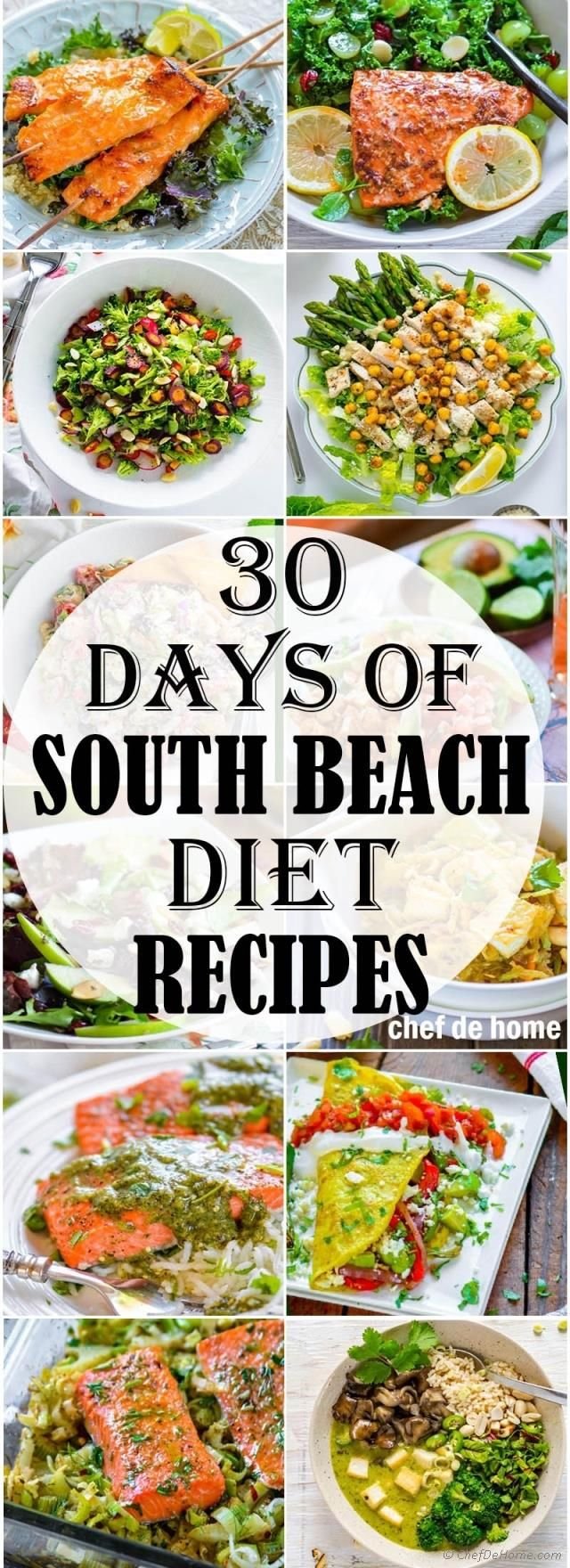 30 Days of South Beach Diet recipes. Lots of healthy, low-carb, low-sugar, and high protein recipes to for 4 week's diet plan.