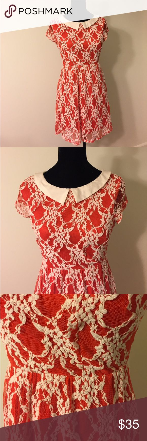 ModCloth Orange Lace Dress w Peter Pan Collar Cute and quirky reddish orange dress by Petticoat Alley for ModCloth. Lace. White Peter span collar. ModCloth Dresses