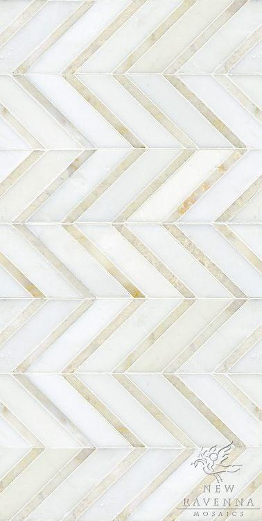 Gold & White Chevron Floor Tile Or Wall Tile