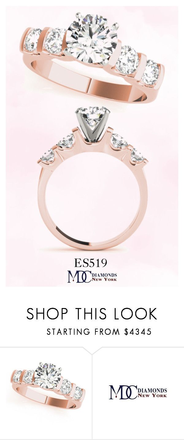 """""""ES519 Bar Set Diamond Engagement Ring with U Design in Rose Gold"""" by mdc-diamonds ❤ liked on Polyvore featuring country"""
