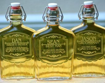 Mens Gift, Personalized Groomsmen Gift, Personalized Groomsmen Flask, Mens Liquor Decanter, Custom Mens Flask, Custom Groomsmen Gift  - Custom Engraving - Sturdy Glass - Leak Proof Rubber Seal - Holds Over 16oz - ANY QUANTITY Available   To Order: 1. Select Quantity and Add to Cart 2. In the Notes at Checkout: Please Include - Name, Wedding Role, and Date (Optional) Exactly as it Should be Engraved 3. Design Will Be as Shown