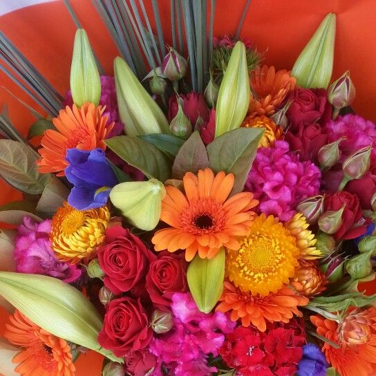 Colourful wrapped bouquet