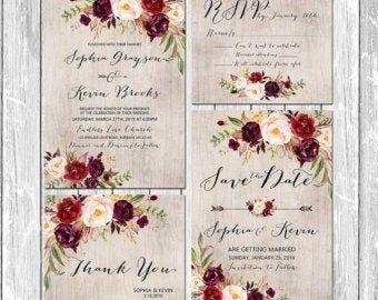 Druckbare Hochzeit Burgund lila und rosa Einladung Set Boho Blumenhochzeit lädt DIY böhmischen Herbst Winter Hochzeit – BPF-23   – Wedding