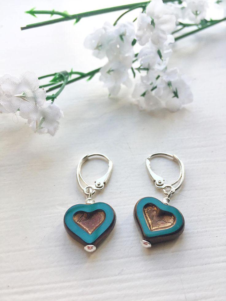 Heart drop earrings, teal green and gold heart earrings, sterling silver sweetheart earrings, love heart earrings, green gold earrings by ShereesTrinketBox on Etsy
