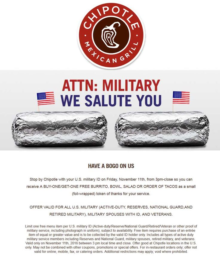 Pinned November 8th: Military ID scores you a second burrito bowl or salad #FREE after 3p Friday at #Chipotle #TheCouponsApp