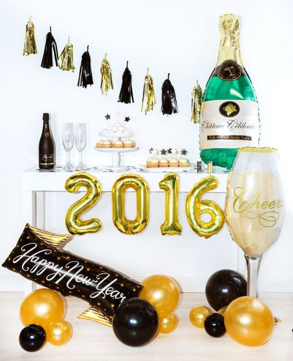 Check out 2016 Number Balloons Banner, Gold Mylar Letter Balloons, New Years Eve Party Decor, New Years Party, New Years Eve Balloons on studiopep