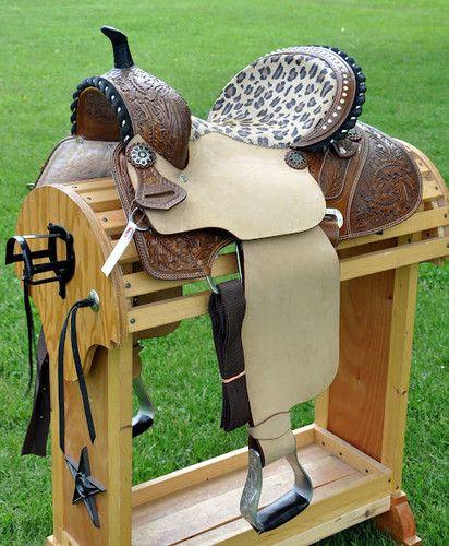 "Dark Oil Western Barrel Racer Horse Saddle with Leopard Print 15"""