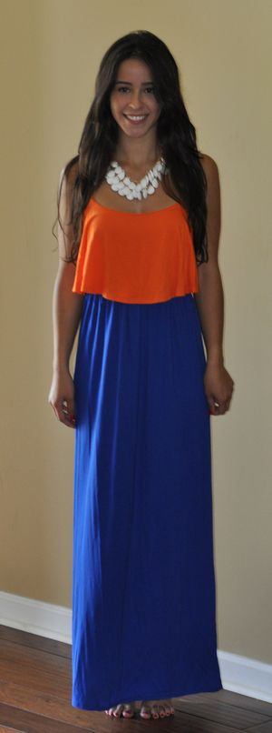 Blue and Orange Ruffle Top Maxi Dress-  Lily And Lace Boutique