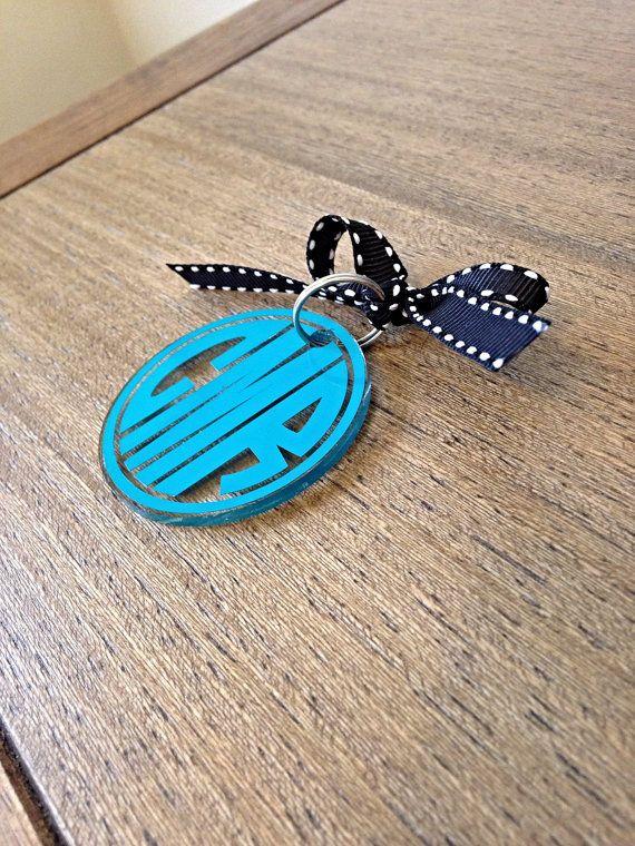 Custom Monogram Keychain by ShopCarlysCustoms on Etsy
