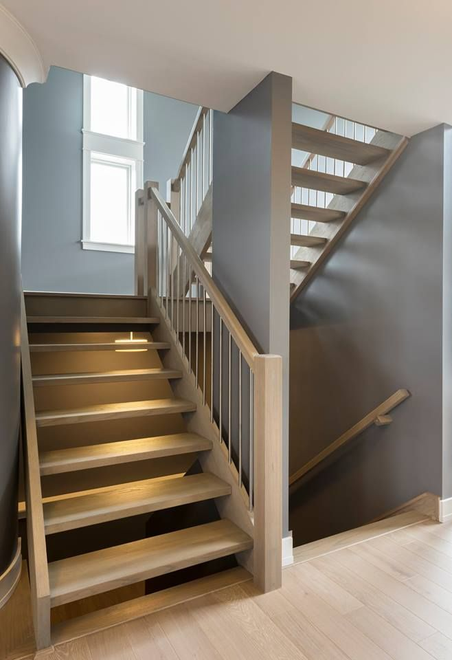 "Custom built floating staircase! 4"" square newel with 5/8"" stainless steel balusters"