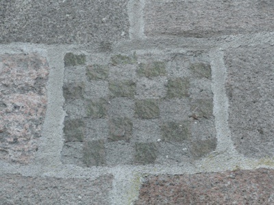 Chessboard pattern on the north side of Gøttrup Church.