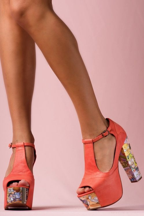 https://www.cityblis.com/6024/item/15304 | JEFFREY CAMPBELL FOXY CARTOON Coral Leather - $201 by Jeffrey Campbell | Stand tall my friend!  These platforms are no joke! Comic-strip charm wraps the statement platform heel of this snappy sandal. The towering 13cm heel with 5cm platform means you'll get to look down on all those not bold enough for such fabulous footwear. This t-strap peep toe pair was made to ... | #Wedges