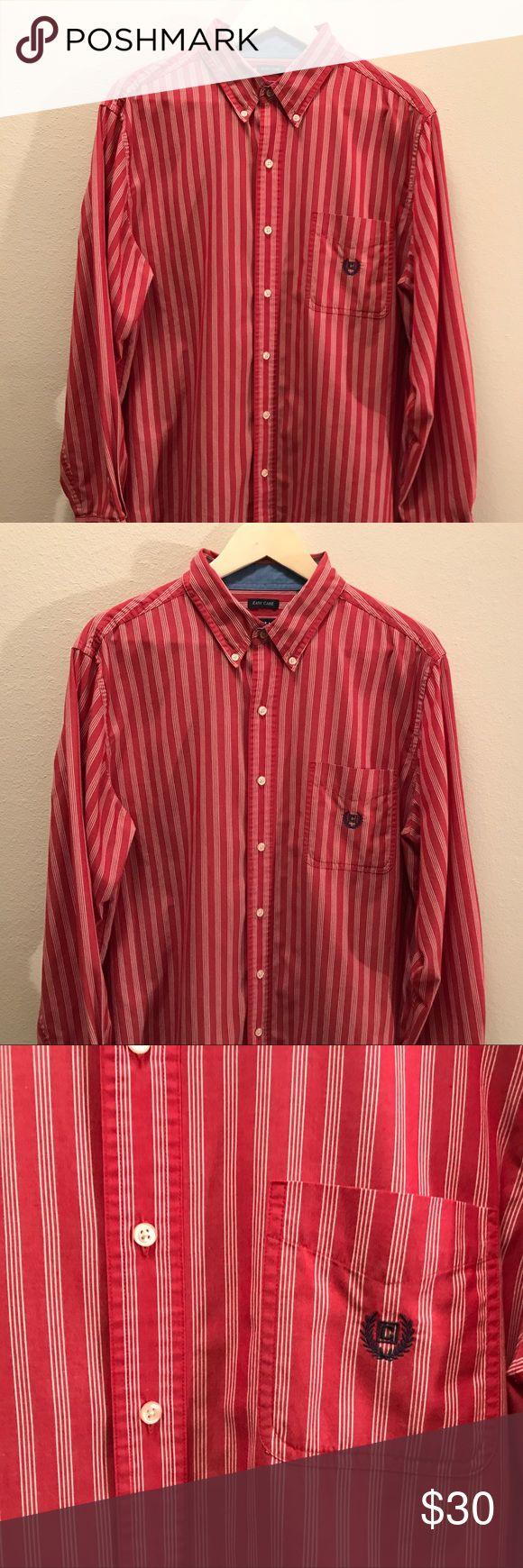SALE! Vintage Chaps Shirt - Mint Condition! Vintage Chaps Striped Shirt  Red and White Striped Shirt  Mint Condition! Chaps Shirts Casual Button Down Shirts