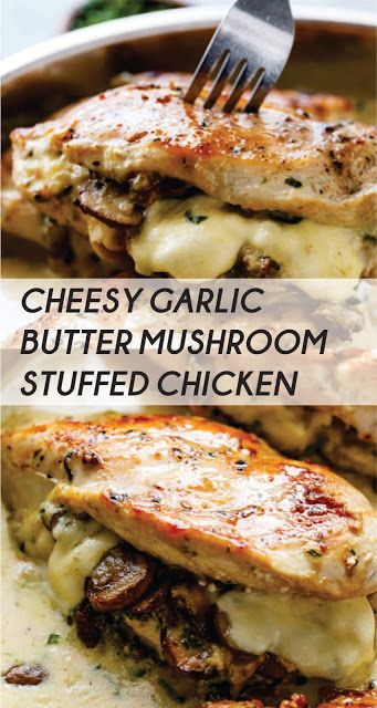 CHEESE BUTTER WITH GARLIC AND MUSHROOM FILLED WITH CHICKEN #chicken #chickenrecipe #chickend …   – CHICKEN Lover