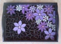 Mosaic tray. Purple flowers black background