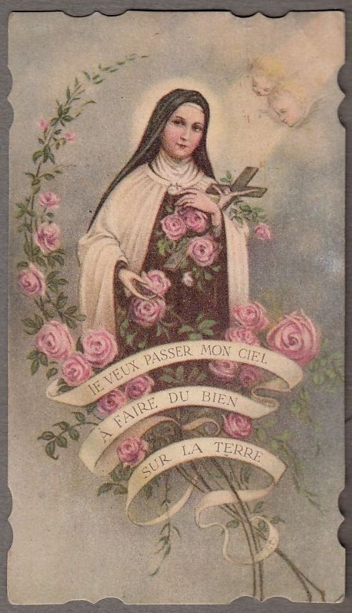 SAINT THERESE OF LISIEUX antique holy card roses