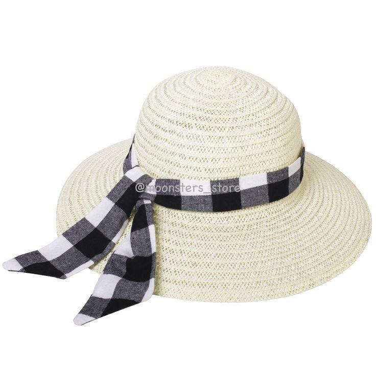 Соломенная шляпка с клетчатой хлопковой лентой удачно дополнит летний гардероб и защитит от солнца в жаркий день.
