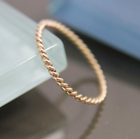 Very Skinny 14k SOLID Gold Twisted Rope by tinysparklestudio, $75.00