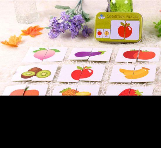 Nuovo arrivo del bambino giocattoli infantile precoce testa formazione iniziale di puzzle cognitivo carta vehicl/frutta/animale/vita set coppia puzzle regalo del bambino