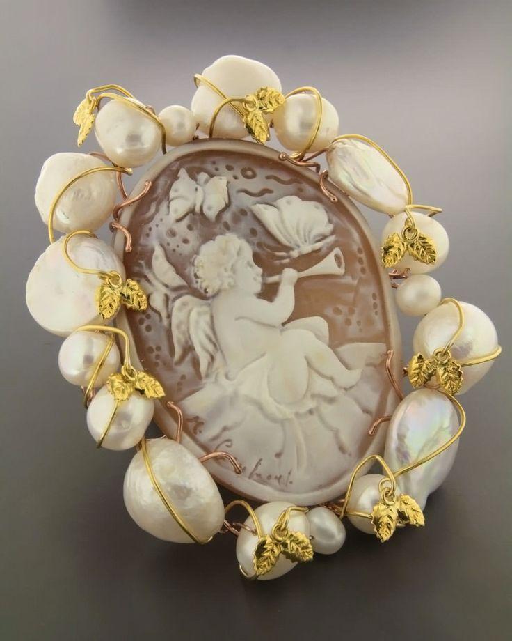 Καρφίτσα-Κρεμαστό για το λαιμό ασημένια με Cameo & Μαργαριτάρια