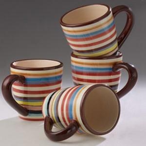 39 99 Set Of 4 Sedona Brown Stripe Mugs Furnishings 2
