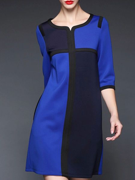 Paneled Color-block Mini Dress
