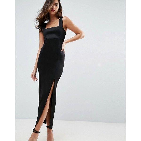 asos square neck scuba maxi dress with thigh split 56 via
