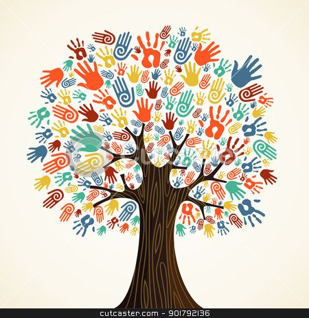 Isolated diversity tree hands stock vector clipart, Isolated diversity tree hands illustration. Vector file layered for easy manipulation and custom coloring. by Cienpies Design