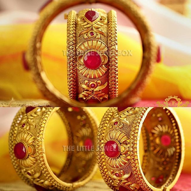 """Finish next to real gold. Set with ruby type stones in antique workmanship from the south. Available in all sizes since it is openable. #thelittlejewelbox #Thelittlejewelboxonline #thelittlejb❤🙈 Shop now. Link in the Bio  #weddings #indianwedding #indianbride #weddingidea #jewellery #weddinggoals #instagood #weddingphotography #weddingbuzz #photooftheday #indianjewelry #portraits #portraitphotography #portraitpage #jewels #gold #golden #glowingbride #happiness #bridalgoals…"