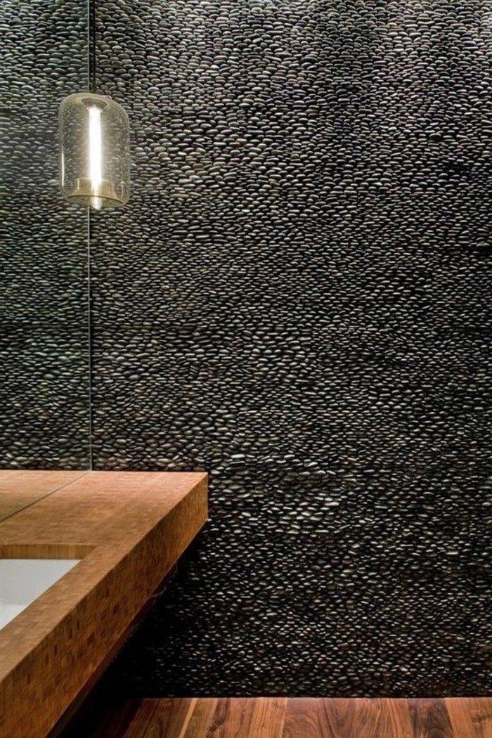 Carreaux Mosaique Imitant Cailloux Gris Meubles Dans La Salle De Bain En Bois