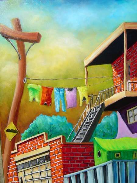 red brick house clothesline - Guy Morest