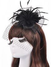 Schwarze Hüte Abend Federn Tüll Oldtimer Hochzeit Hüte