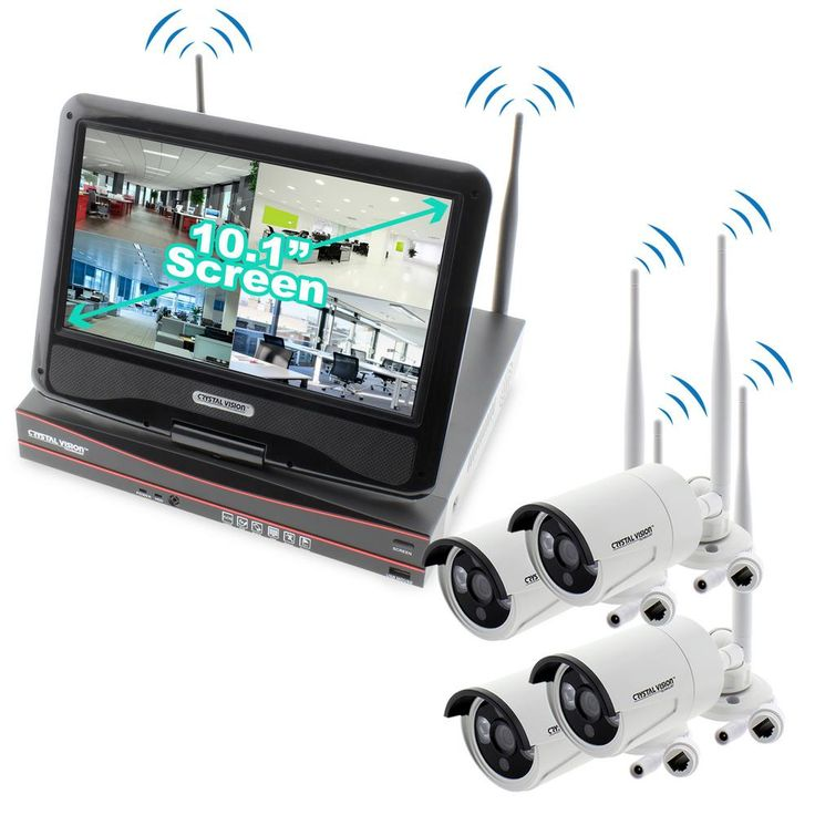 Crystal Vision 4-Channel True HD 2TB HDD Wireless NVR Cctv Kit with 4 Autopair Waterproof Cameras Built-In Monitor and Router