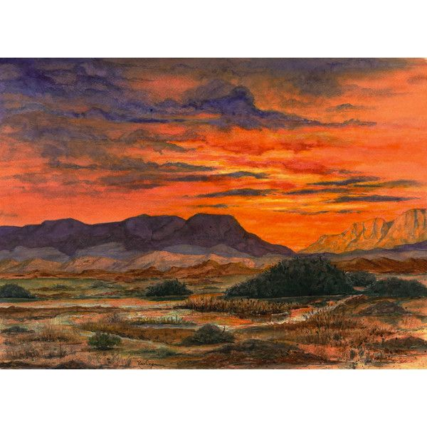 Desert Sunset Southwest Landscape Painting, Print from Original... ($25) ❤ liked on Polyvore featuring home, home decor, wall art, sunset painting, landscape wall art and landscape painting
